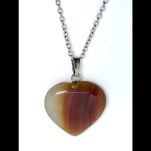 Red Striped Agate Stone Heart Pendant Necklace 16""